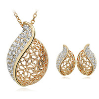 Accessories fashion love elegant ol cutout earrings necklace set
