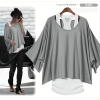 Hot Sale Fashion Womens Batwing Dolman Short Sleeve Loose Tops Vest T-Shirt Blouse Blue Black Gray S M L XL Free Shipping 0069