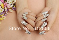 new arrival, 3D design elegant false nail 24pcs/set,artificial nails/ the bride wedding party with glue free shipping