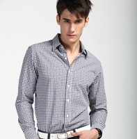 2013 New  cotton  Autumn  Men  Casual Slim  long-sleeve shirts   Blue Coffee  lattice   synthetic  YT11090030 XS S  M  L XL  XXL