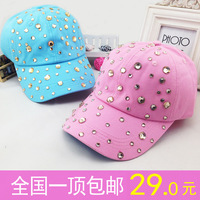 Free shipping 2013 women's baseball cap summer visors sun-shading  adjustable hat yellow black grey pink blue