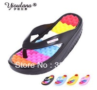 Summer women lady platform wedges slimming swing shoes sandals hole slippers flip flops shoes