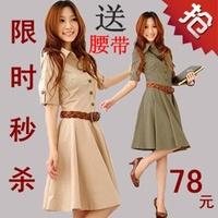 Vestido De Festa Sale Fashion 2014 Spring Summer Woman Formal Dress Salaryman Plus Size Cotton Slim One-piece Half-sleeve Wear