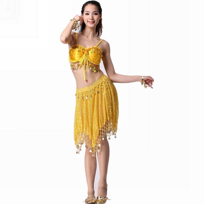 2014 Time-limited Freeshipping Bellydance Dance Costume Belly Dance Set Twinset Hanging Sheet Satin Bra Top Net Fabric Dress(China (Mainland))