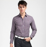 2013 New  cotton  Autumn  Men  Casual Slim  long-sleeve shirts purple Coffee  lattice   synthetic  YT1109013  XS S  M  L XL  XXL