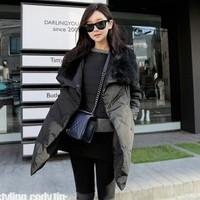 2013 Winter Women's Fashion luxury large Fox fur collar removable pocket slim thickening medium-long wadded jacket outerwear