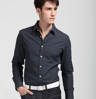 2013 New  cotton  Autumn  Men  Casual Slim  long-sleeve shirts  dark  green  lattice   synthetic  YT11090032 XS S  M  L XL  XXL