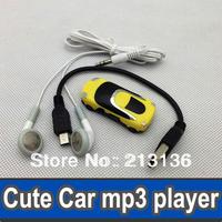 50pcs Cute Car Design MP3 Player Digital Music Players Portable MP3 Player Mini Card MP3 Player+ USB Cable + Earphones yellow