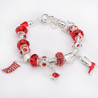 Free shipping!! New Fashion European Murano Glass&Crystal Beads 925Sterling Silver Cowboy Boots Chram Bracelet PB185