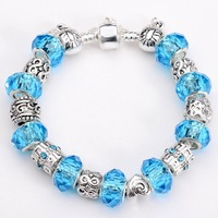 Free shipping!! New Fashion European Murano  925Sterling Silver Glass&Crystal Beads Chram Bracelet PB195