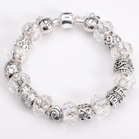 Free shipping!! New Fashion European Murano  925Sterling Silver Glass&Crystal Beads Chram Bracelet PB197