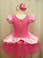 Retail pink dancing dress ,beautiful gauze girl dress with Headdress,free shipping D2332