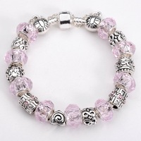 Free shipping!! New Fashion European Murano  925Sterling Silver Glass&Crystal Beads Chram Bracelet PB199