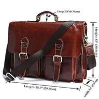 New Design Genuine Cow Leather Men's Business Briefcase Laptop Handbag Messenger Bag #7086X