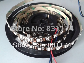 non-waterproof IP20,BLACK PCB 4m WS2811 LED digital strips 60leds/m with 60pcs WS2811 built-in the 5050 rgb led chips;DC5V input
