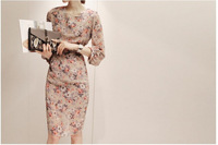 Free shipping women's clothing 2013 new autumn ladies dresses chiffon print full sleeve vintage cute women's dress A20