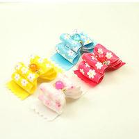 Armi store Handmade Designer Dog Accessories Cute Little White Flowers Ribbon Bow 22009 Pet Bow Supplies Shih Tzu Bows.