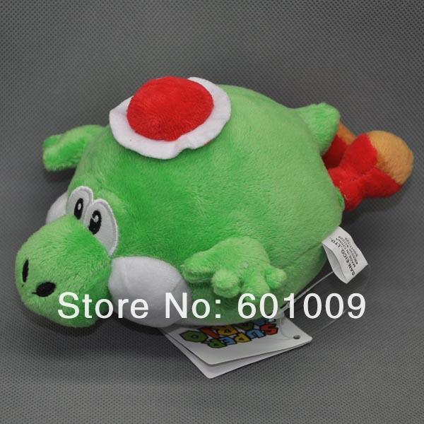 "Free Shipping Super Mario Bros Fly blister Yoshi Soft Stuffed Plush Doll Figure Green 7"" Retail(China (Mainland))"