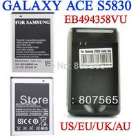 2 pcs 1350mAh EB494358VU Battery +US EU UK AU Plug wall charger for Samsung GALAXY Ace GT S5830 GIO S5660 GT-S5670 Pro GT-B7510