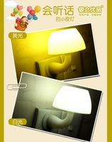 1PCS Led Small Night Light 220V Induction Lamp Baby Lamp Voice And Light Control Nightlight,White,Yellow