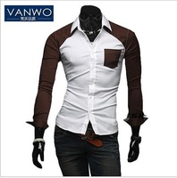 Free shipping VANWO Men turn-down Collar Slim Fit Casual Long Sleeve shirt 2013 Summer Fashion 4 Sizes:M L XL XXL 3 colors