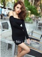 Free Shipping! Wholesale Fashion 2013 slim hip slit neckline women's one-piece dress