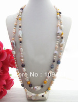 Stunning! 60'' Multi Shape Pearl Necklace  free shippment