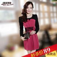 Fashion new Autumn   elegant  size fashion   long-sleeve slim long skirt  sexy dress