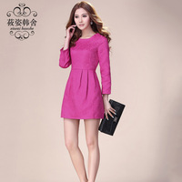 One-piece  jacquard relief involucres stereo long-sleeve slim hip skirt expansion bottom   autumn and winter sexy dress