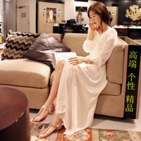 Fashion new 2013 summer fairy long design long-sleeve placketing mid waist chiffon white   jumpsuit    sexy dress