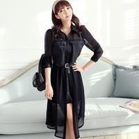 Fashion new 2013 slim bohemia   solid color o-neck long-sleeve chiffon jumpsuit    sexy dress