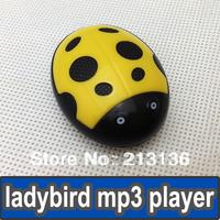 300pcs Ladybird design MP3 Player Digital Music Player Portable Cartoon MP3 Player Card MP3 Players yellow