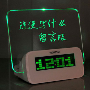 Special Message board neon alarm clock quieten luminous multifunctional neon message board led clock alarm clock