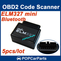 5pcs/lot Black ELM327 Mini Bluetooth OBDII V2.1 Car Diagnostic Interface Scanner OBD2 Auto Code Scan Tool, Free Shipping