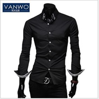 New men's Casual Luxury Stylish Slim fit Pure Color Long Sleeve Dress Shirts 4 sizes M-XXL 2 colors Free Shipping VANWO 7854
