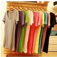 2014 Fashion Modal 100% Cotton Slim T-shirt ,O-Neck Casual Woman Shirt ,Candy Solid Basic Short Sleeve Female T shirt Free ship