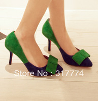 Free shipping 2013 fashion Pointed toe  shallow mouth bow colorant match formal dress wedding  high heeled tuxedo shoes