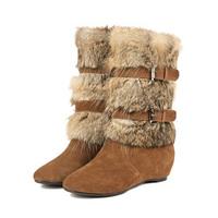 Elevator 2014 winter rabbit fur boots medium-leg boots free shipping