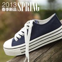 2014canvas shoes female paltform platform lacing solid color 2013 spring all-match classic