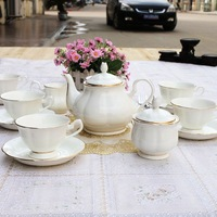 15 bone china coffee set fashion ceramic coffee cup set d'Angleterre tea set coffee utensils pure white