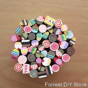 50pcs Nail Art Fimo dessert cake Canes Rods Sticks Sticker Tips Decoration Also for Mp3 Phone PC