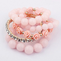 Sunshine jewelry store fashion multi-layer rhinestone flower bead handmade bracelet for women s307 (min order $10 mixed order)