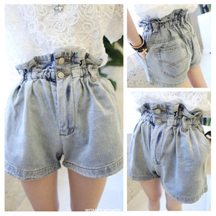 Opshacom bud slim waist high waist paragraph retro finishing denim shorts women's trousers