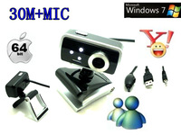 USB 2.0 30.0M 3 LED PC Camera HD Digital Webcam Camera Web Cam with MIC for Computer PC Laptop Free Shipping+Drop Shipping