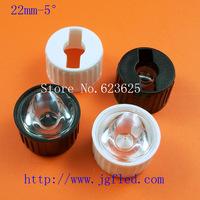 50pcs/lot   22 mm  Lens (Including stents) 5 degree LED lens LED for 1W/3W/5W LED PMMA materials Light transmittance 92%