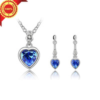 Classic The  Lovely Heart  Design Crystal Pendant Necklace Fashion Jewelry Sets for Women with Gifts Box Free Shipping