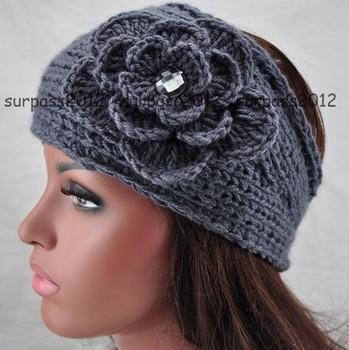 Gray Big Size Knit Flower Crysta Headband Crochet Hairband Headwrap
