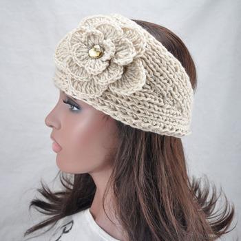 women beige knit winter flower big size crysta headband lady crochet headwrap Ear Warmer