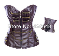 New Arrival CORSET , BUSTER ,1 set for Dropship , Leather Zipper Steel overbust corsets brown