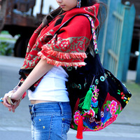National trend handmade beading embroidered canvas bag backpack shoulder bag
